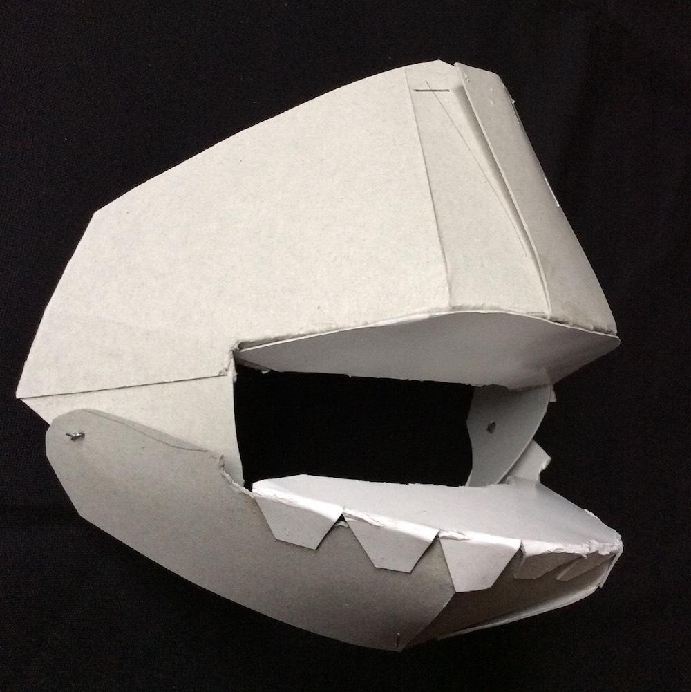 ラクダの仮面の可動式顎部分の試作